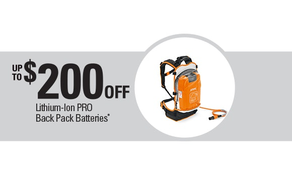 Receive up to $200 off Pro Back Pack Batteries