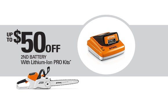 Receive up to $50 off 2nd battery with Pro Kits